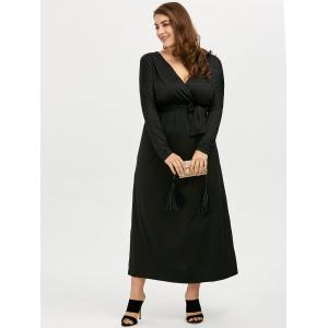 Plus Size Deep V Neck Maxi Evening Dress with Long Sleeve -