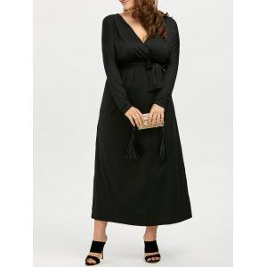 Plus Size Deep V Neck Maxi Evening Dress with Long Sleeve
