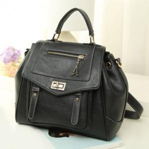Convertible Faux Leather Backpack -