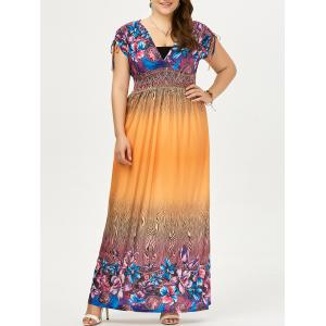 Plus Size Long Ombre Printed Maxi Boho Dress