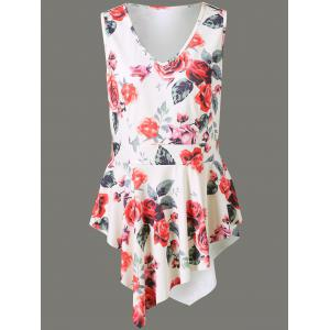 Plus Size Floral Asymmetrical Sleeveless Blouse - White - 4xl