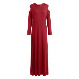 Cold Shoulder Hooded Long Sleeve Maxi Dress