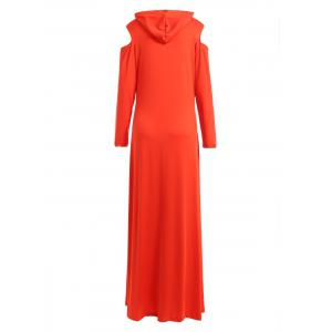 Cold Shoulder Hooded Long Sleeve Maxi Dress - RED 2XL