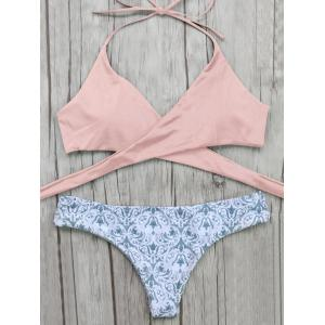 Halter Wrap Bikini Top and Baroque Print Bottoms - Pink - S