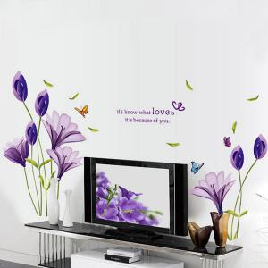 Flower Love Quote Wall Stickers - Purple - 50*70cm