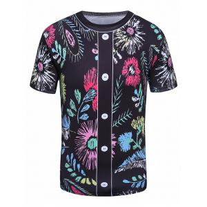 3D Flower Print Faux Button Crew Neck T-Shirt
