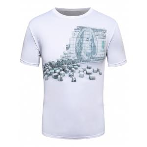 3D Money Wall Print Crew Neck T-Shirt