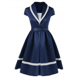 Shawl Collar Cap Sleeve Swing Dress - Blue And White - L