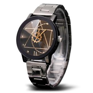 Gear Geometric Steel Band Quartz Watch - BLACK