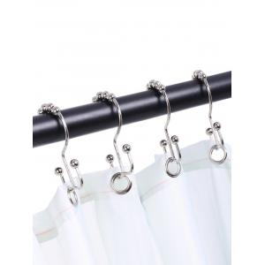 Stainless Steel Beads Two Sides Shower Curtain Hooks Set - SILVER