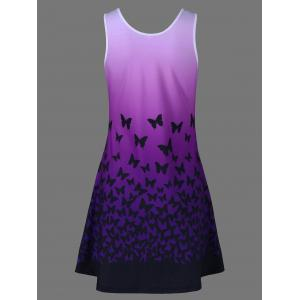 Butterfly Print Ombre Casual A Line Short Tank Dress - PURPLE XL