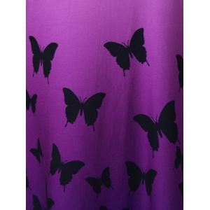 Butterfly Print Ombre Casual A Line Short Tank Dress - PURPLE 2XL