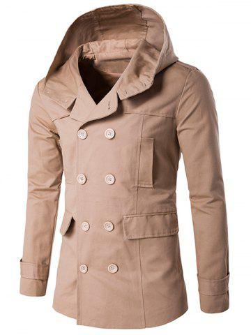 Best Double Breasted Hooded Pea Coat - XL KHAKI Mobile