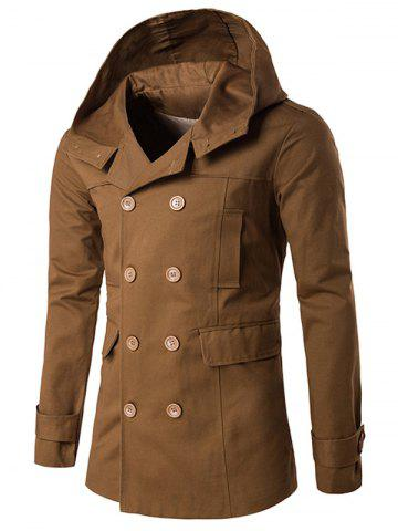 Fancy Double Breasted Hooded Pea Coat - 2XL CAMEL Mobile