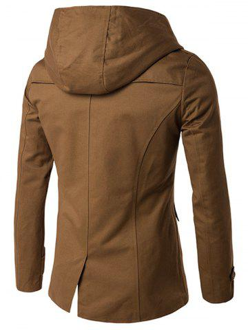 Store Double Breasted Hooded Pea Coat - 2XL CAMEL Mobile