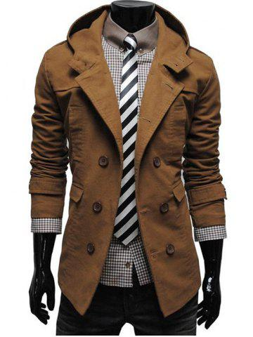 Double Breasted Hooded Pea Coat - Camel - L
