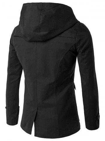 Cheap Double Breasted Hooded Pea Coat - 2XL BLACK Mobile