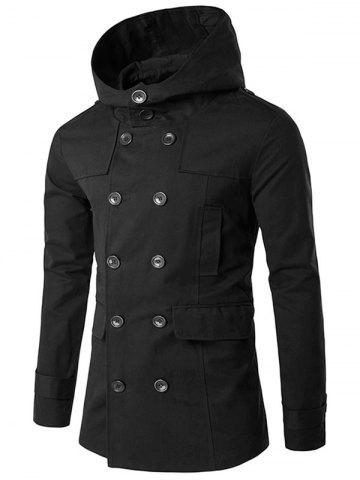 Sale Double Breasted Hooded Pea Coat - L BLACK Mobile