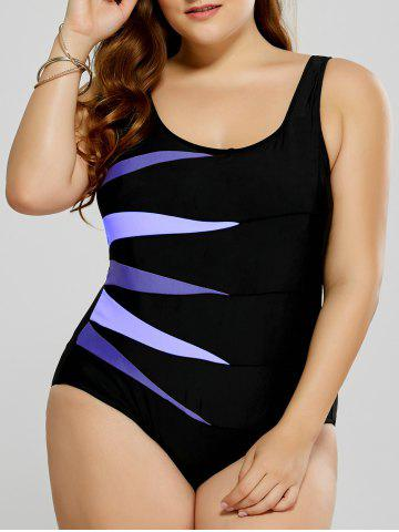 Plus Size Graphic Fitted One-Piece Swimsuit - Purple - 3xl