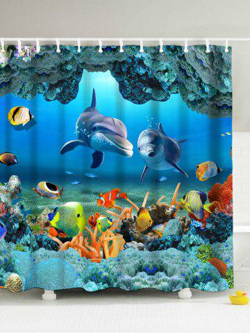 3D Underwater World Fish Shower Curtain with Hooks - Blue - 180*180cm