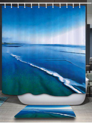 New Sea Print Waterproof Polyester Fabric Shower Curtain - 200*180CM LAKE BLUE Mobile