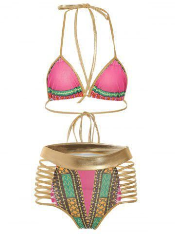 Outfit Halter Cut Out Graphic Bikini Set ROSE RED M