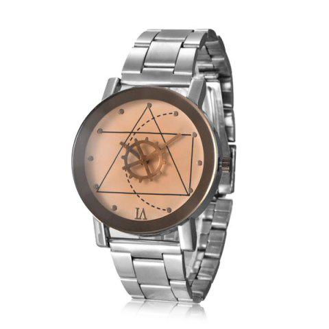 New Gear Geometric Steel Band Quartz Watch SILVER AND WHITE