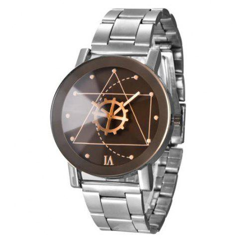 Affordable Gear Geometric Steel Band Quartz Watch SILVER/BLACK
