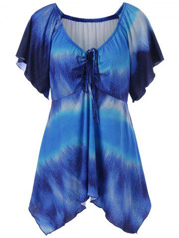 Buy Plus Size Empire Waist Butterfly Sleeve Blouse BLUE 5XL