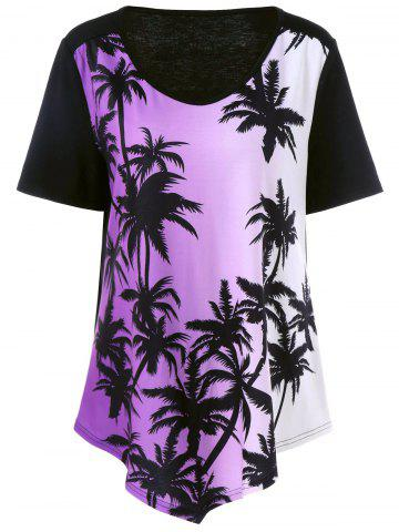 Chic Plus Size Plant Print Ombre Asymmetrical T-Shirt BLACK/PURPLE 5XL