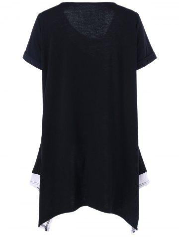 Trendy Plus Size Long Cuffed Sleeve Asymmetrical T-Shirt - 3XL WHITE AND BLACK Mobile