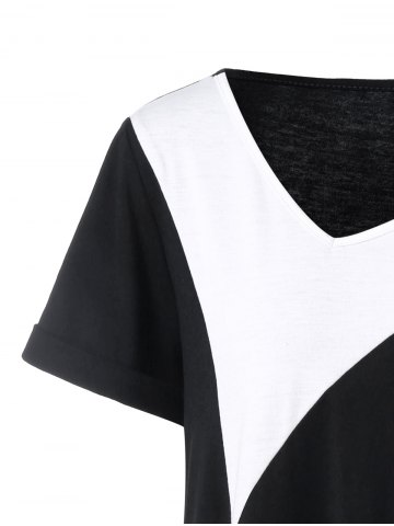 Buy Plus Size Long Cuffed Sleeve Asymmetrical T-Shirt - 3XL WHITE AND BLACK Mobile