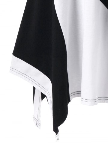 Hot Plus Size Long Cuffed Sleeve Asymmetrical T-Shirt - 3XL WHITE AND BLACK Mobile