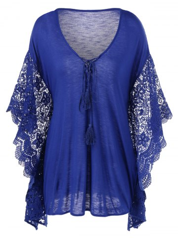 Blue 2xl Plus Size Butterfly Sleeve Crochet Trim Blouse