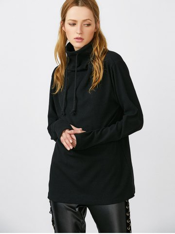 Outfit High Neck Thumb Hole Drawstring Sweatshirt - XL BLACK Mobile