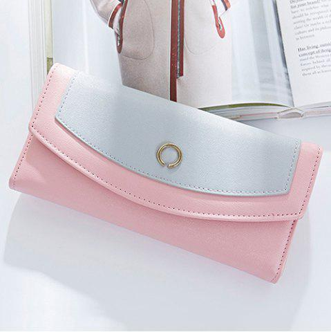 Discount Flap Color Block Clutch Wallet - PINK  Mobile