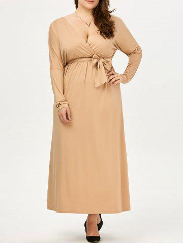 Plus Size Deep V Neck Maxi Evening Dress with Long Sleeve - Apricot - 5xl
