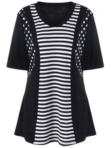 Plus Size Striped and Polka Dot T-Shirt - White And Black - Xl