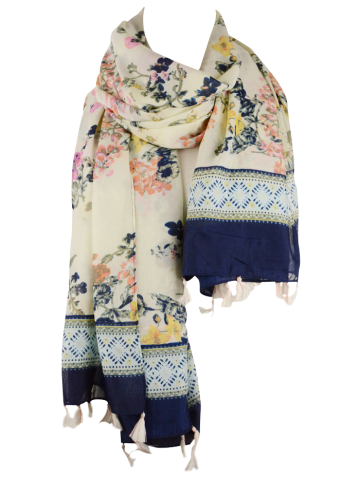 Discount Tassel Pendant Scarf with Floral Printed - OFF-WHITE  Mobile