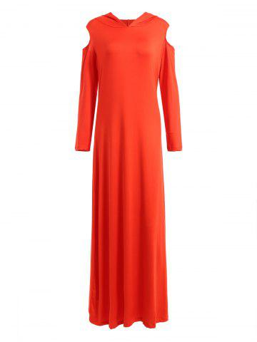 Buy Cold Shoulder Hooded Long Sleeve Maxi Dress RED 2XL
