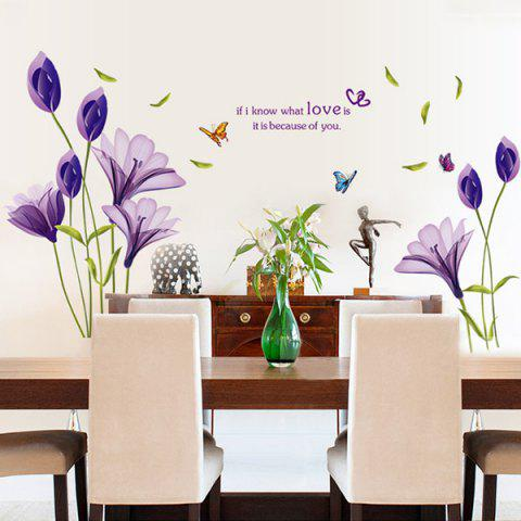 Store Flower Love Quote Wall Stickers - 50*70CM PURPLE Mobile