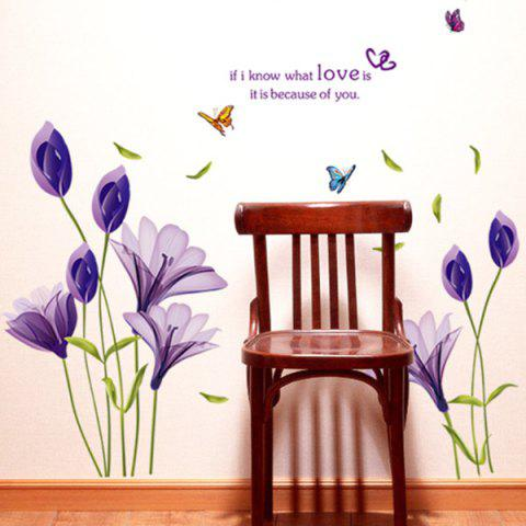 Fancy Flower Love Quote Wall Stickers - 50*70CM PURPLE Mobile
