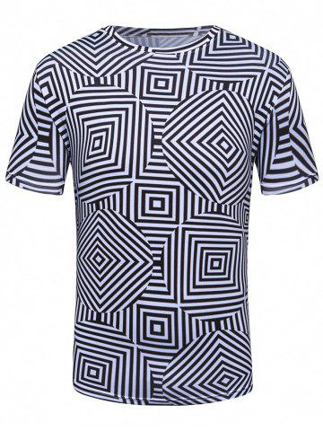 Fancy 3D Labyrinth Geometric Print Trippy T-Shirt - 2XL COLORMIX Mobile