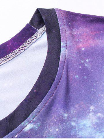 Outfit Crew Neck 3D Galaxy Geometric Print T-Shirt - L PURPLE Mobile