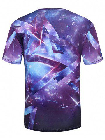 Cheap Crew Neck 3D Galaxy Geometric Print T-Shirt - L PURPLE Mobile