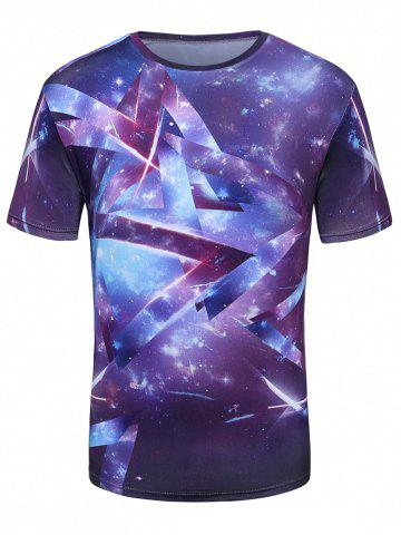 Best Crew Neck 3D Galaxy Geometric Print T-Shirt - L PURPLE Mobile