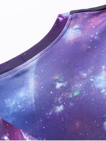 Online Crew Neck 3D Galaxy Geometric Print T-Shirt - L PURPLE Mobile