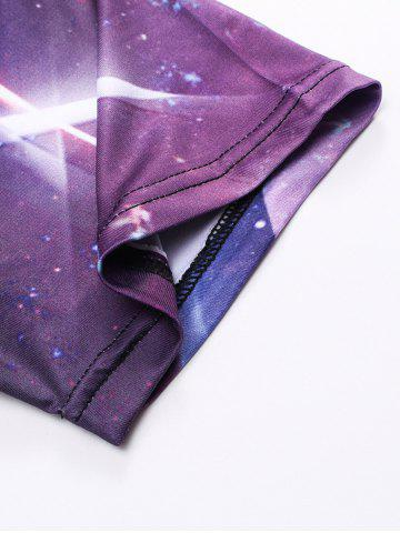 Discount Crew Neck 3D Galaxy Geometric Print T-Shirt - L PURPLE Mobile