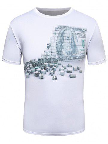 Buy 3D Money Wall Print Crew Neck T-Shirt - L WHITE Mobile