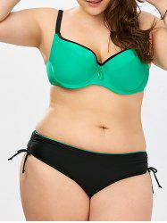 Color Block Plus Size Push Up Bikini Set